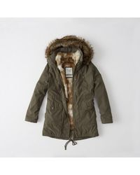Abercrombie & Fitch - Green Three-in-one Faux Fur Lined Parka - Lyst