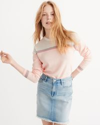 Abercrombie & Fitch - Pink Mixed Stitch Crew Sweater - Lyst