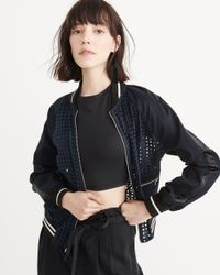 Abercrombie & Fitch - Blue Eyelet Bomber Jacket - Lyst