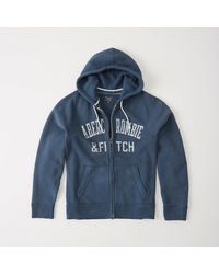 Abercrombie & Fitch - Blue Heritage Logo Fleece Zip-up for Men - Lyst