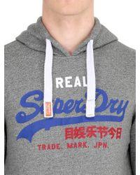 Superdry Gray Hooded Light Cotton Blend Sweatshirt for men