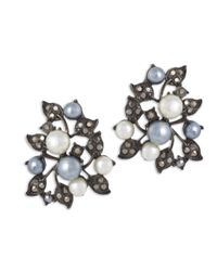 Kenneth Jay Lane | Multicolor Multi-pearls Ivy Clip Earring | Lyst