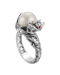 John Hardy | Metallic Naga Silver Lava Small Dragon Ring With Freshwater Pearl | Lyst