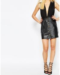 Missguided - A Line Leather Look Button Through Skirt - Black - Lyst