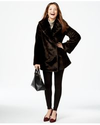 Jones New York Brown Asymmetrical Faux-fur Coat