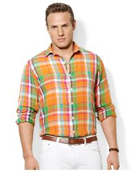 Polo Ralph Lauren Orange Polo Big and Tall Longsleeve Plaid Linen Shirt for men