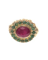 Jade Jagger Red Ruby Emerald Yellowgold Ring