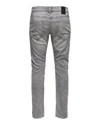 Only & Sons ONSLoom Zip Grey Slim Fit Jeans in Gray für Herren