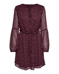 ONLY Brown Print Kleid mit langen Ärmeln