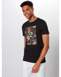 Tom Tailor Denim T-Shirt 'Tee Front Print' in Black für Herren