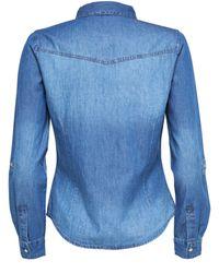 ONLY Blue Langarmhemd Denim