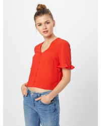 New Look Red Bluse 'T FRIEDA GINGHAM FRILL SLV SHELL'