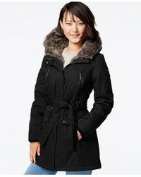 Kensie | Black Faux-fur Puffer Anorak Jacket | Lyst