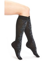 Hue | Black Flocked Brocade Knee Socks | Lyst