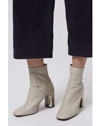 TOPSHOP | Gray Muse Bone Heel Boots | Lyst