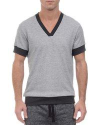 2xist - Gray Short Sleeve V-neck Sweatshirt for Men - Lyst