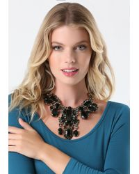 Bebe - Black Large Crystal Bib Necklace - Lyst