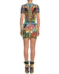 DSquared² - Blue Short Sleeve Tropical Paradise Scuba Dress - Lyst