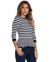 Autumn Cashmere | Blue Striped 34 Sleeve Peplum Top in Navy | Lyst