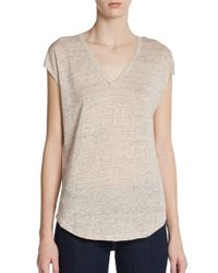 Joie | Natural Hayes Heathered Linen Vneck Tee | Lyst