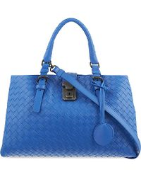 Bottega Veneta | Blue Roma Intrecciato Leather Cross-body Bag | Lyst