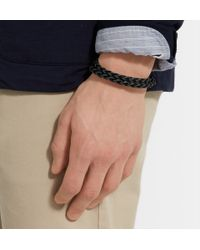 Tod's Black Woven Leather Wrap Bracelet for men