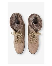 Express Brown Faux Fur Lined Convertible Commander Boot