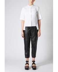 TOPSHOP | Half Sleeve White Shirt | Lyst