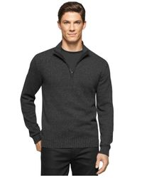 Calvin Klein Black Big And Tall Mock-collar Sweater for men