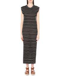 IRO Black Molly Striped Linen Dress
