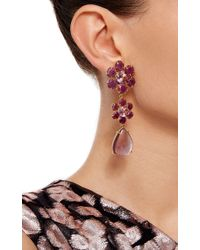 Bounkit | Multicolor Floral Ruby And Amethyst Drop Earrings | Lyst