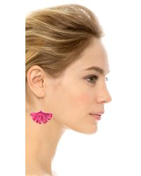 Aurelie Bidermann | Pink Gingko Leaf Earrings - Pivoine | Lyst