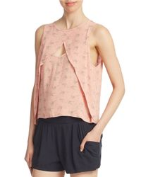 Free People | Pink Cossover Front Tank Top | Lyst