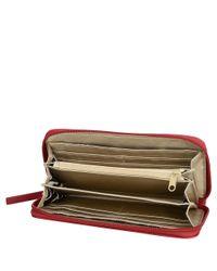 Nine West - Red Flip Lock Zip Around Wallet - Lyst