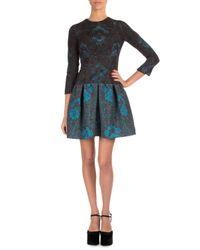 Mary Katrantzou Blue 3/4-sleeve Jewel-neck Lace Dress