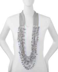 Eileen Fisher | Metallic Organic Linen Knotted Crochet Necklace | Lyst