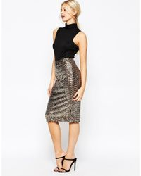 Oasis Metallic Asis Sequin Pencil Skirt