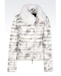 EA7 | White Down Jacket With Fur Collar | Lyst
