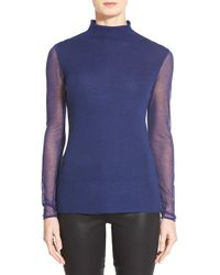Elie Tahari | Blue 'maxina' Sheer Sleeve Merino Sweater | Lyst