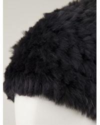 Meteo by Yves Salomon - Black Rabbit Fur Beanie - Lyst