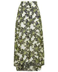 TOPSHOP - Black Hibiscus Outline Print Maxi Skirt - Lyst