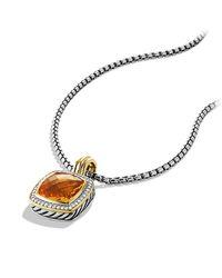 David Yurman | Orange Albion Pendant With Diamonds, 14mm Gemstone | Lyst
