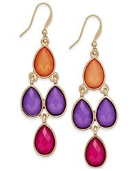 Style & Co. | Metallic Gold-tone Multicolor Teardrop Chandelier Earrings | Lyst