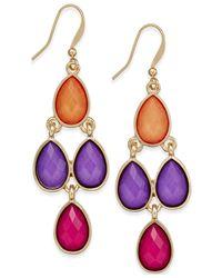 Style & Co. | Metallic Gold-tone Multicolor Teardrop Chandelier Earrings | Lyst
