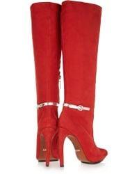 Schutz Red Metallic Leather-trimmed Suede Knee Boots