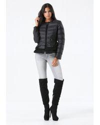 Bebe Black Peplum Puffer Jacket