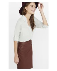 Express | Natural Slim Fit Convertible Sleeve Portofino Shirt | Lyst