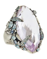Alexis Bittar Fine Metallic Cool Heather Marquis Amethyst Ring with Claw Diamonds Sapphires