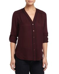 Vince - Black Silk Blouse W/contrast Piping - Lyst