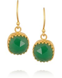 Kevia Green Gold-Plated Emerald Earrings